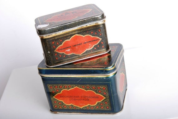 1940s Rare Old Vintage Antique Soviet Russian Georgian TEA Metall 2 x BOXes USSR