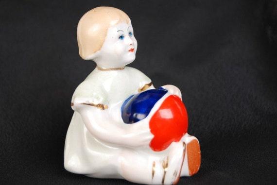 "1960s Russian Porcelain Soviet Figurine Gorodnitsa "" Little Girl with Ball"" USSR"