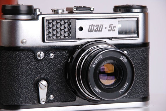 FED 5 C Russian Soviet Leica RF 35mm Camera with m39 Industar 61 L/D USSR LightMeter