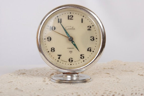 Vintage NICE :) Small Rare Art Deco Slava Table Mantel Alarm Clock Retro Style