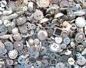 New Fancy Silver Antique Vintage Style Embellishment Buttons 1/4 lb