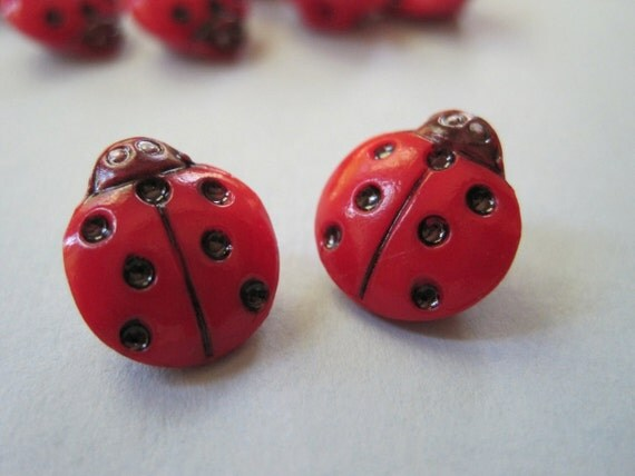 Red Tiny Ladybugs Glass Craft Novelty Embellishment Buttons