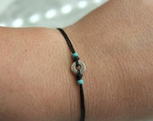 Black Waxed Irish Linen and Small Silver Washer Bracelet with Turquoise Seed Beads