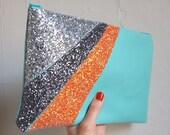 Leather&Glitter Clutch Bag (Light blue)
