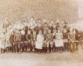 Antique Class Photo of Children and Teachers