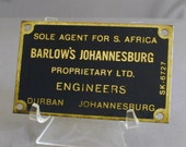 Brass Plaque Barlow's Engineers S Africa Johannesburg Durban