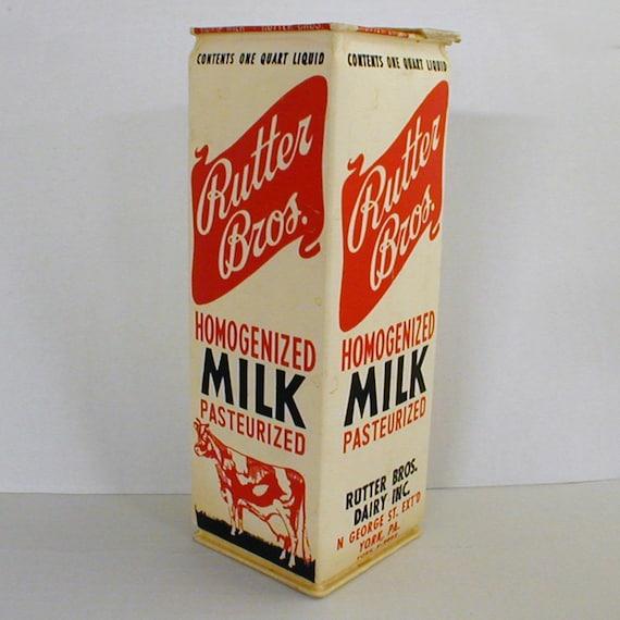 1960s Waxed Milk Carton Rutter Bros Dairy York PA
