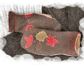 Upcycled Brown with Leaves Sweater Mittens