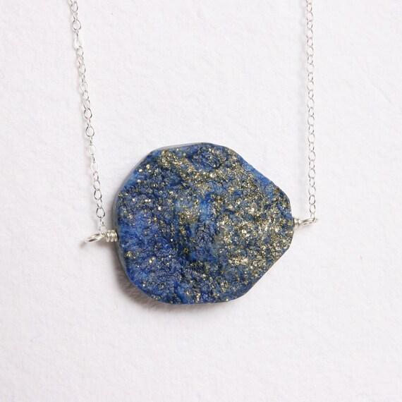 Raw Stone Jewelry Blue Lapis and Pyrite Pendant Necklace Rough Semi Precious Stone Silver Chain