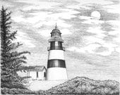 Cape Disappointment  Lighthouse - 11 x 14 Matted Print