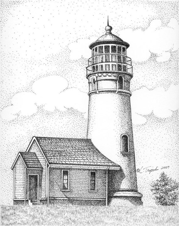 Section and Elevation Drawing for the Lighthouse at Cape ...   Cape Fear Lighthouse Line Drawing