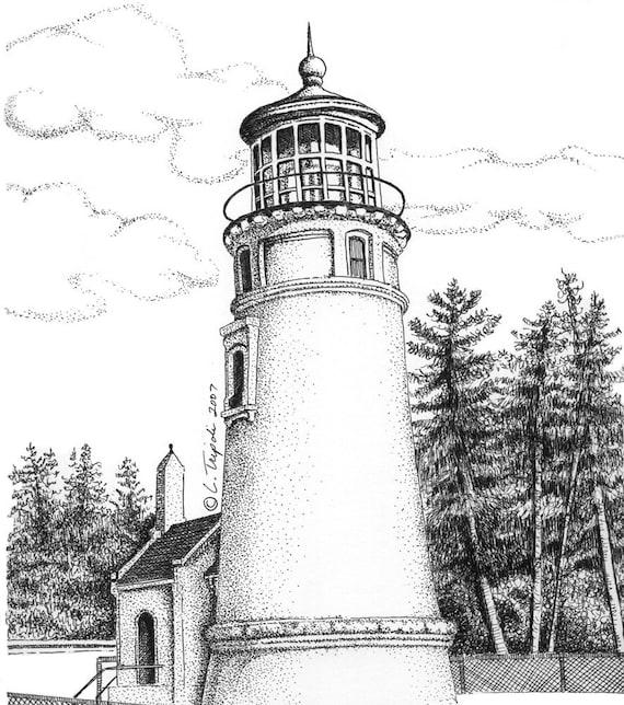 Umpqua River Lighthouse - 11 x14 Matted Print