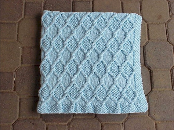 Knitting Pattern Travel Blanket : Diamond Cable Travel Blanket Pattern