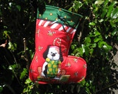 Quilted Doggie Christmas Stocking with Hanging Loop