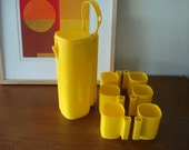 Vintage Mod Pitcher & Stacking Cups with Handle Carrier Yellow 1970's Mod 70s Set