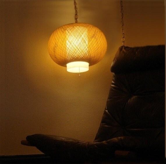 Mid Century Danish Spun Fiberglass Hanging Swag Lamp
