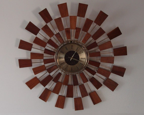 Mid Century Starburst Wall Clock Seth Thomas 1960s Grandeur Model