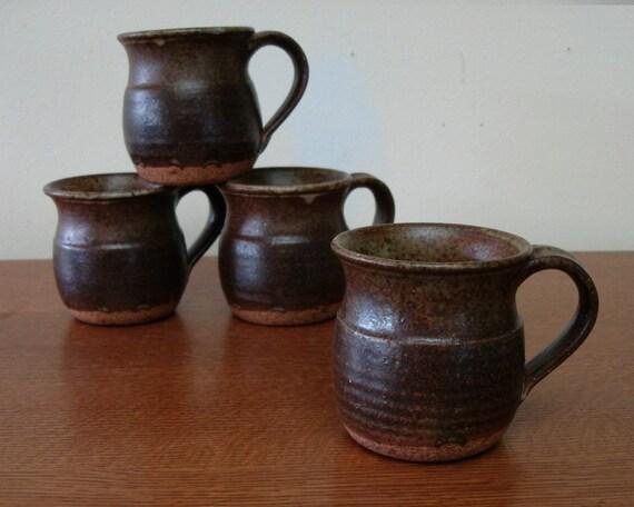 4 Vintage Studio Pottery Mugs 1970s Set of Four 70s Danish Modern Modernist 60s 1960s