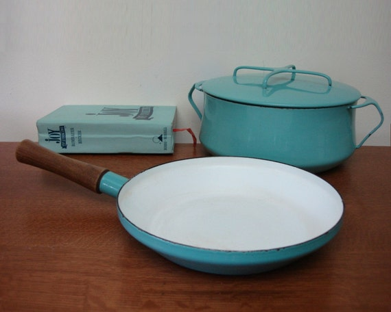 Early Dansk Stock Pot  and Saute Pan Vintage Jens Quistgaard 1950s Design Turquoise DENMARK Danish Modern Mid Century