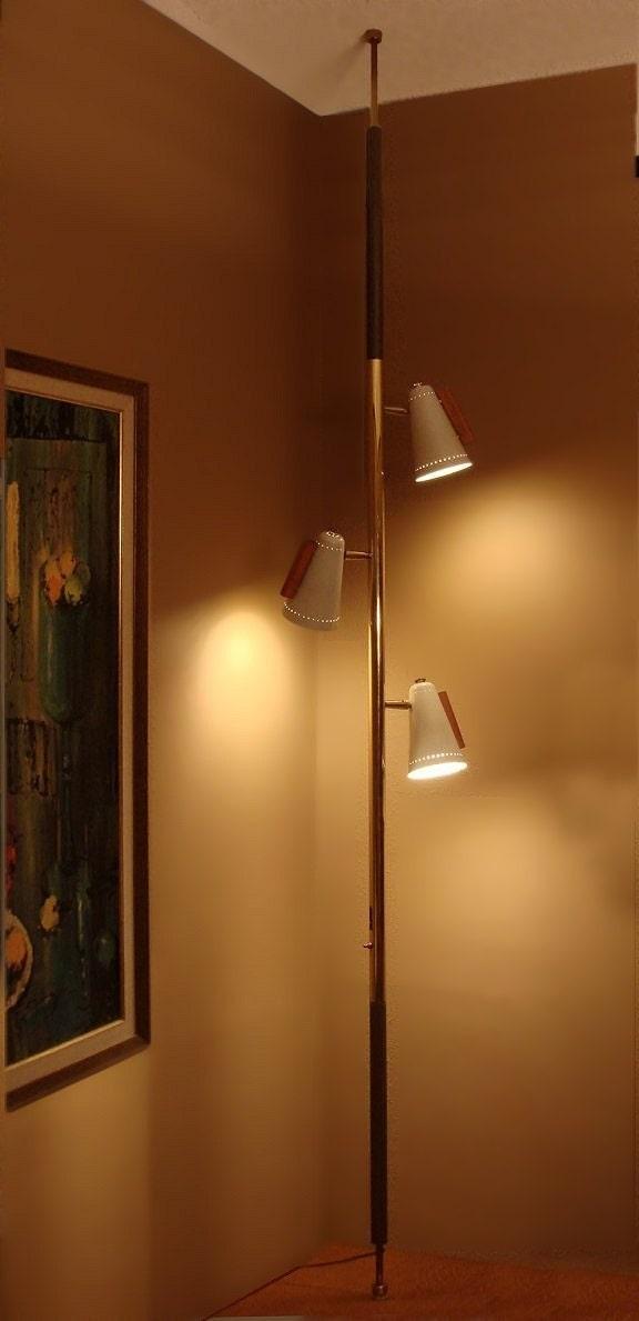 Mid Century Raymond Loewy Stiffel Tension Floor Pole Lamp