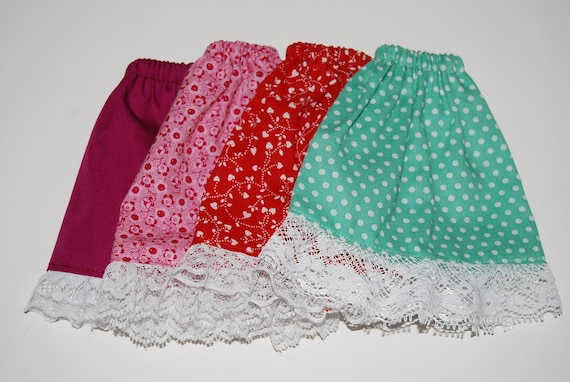 4 Barbie Skirts Red, Pink, Purple, Green