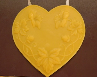 Beeswax Hanging Art Deco Heart - Grape Leaves and Hibiscus Design