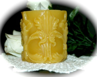 Art Deco Beeswax Candle - Art Nouveau Flowers and Swirls and Leaves in a Modern Style