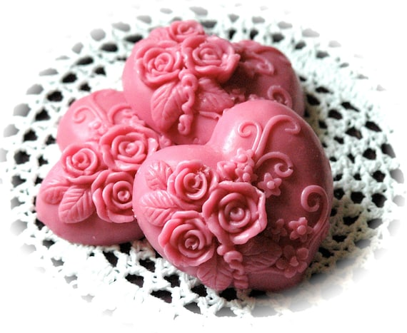 Soap - Pink Heart Soaps - Pretty in Pink Goat's Milk Gift Soap with Hearts and Roses - Soap Party Favors - Handmade Mother's Day Soap