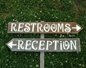 2 Wedding Signs on Stake. LARGE FONT Hand painted Signs Reclaimed Wood Wedding Road signs on Post. Directional Party Signs. Rustic Wedding
