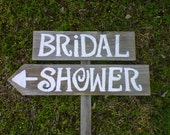 BRIDAL SHOWER Wedding Signs Handpainted 1 Sign on 1 stake.  Country Wedding. Organic Wedding Decorations. Road Signs