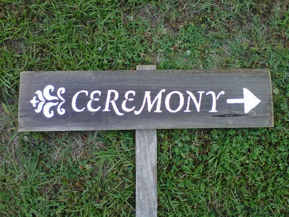 Hand Painted Wedding Signs on a stake. Country Wedding. Damask Organic Wedding Decorations. Road Signs. Arrow Wood Sign