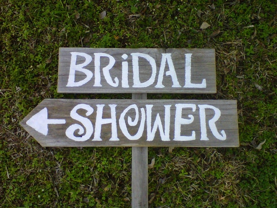 BRIDAL SHOWER Wedding Signs Handpainted 1 Sign on 1 stake