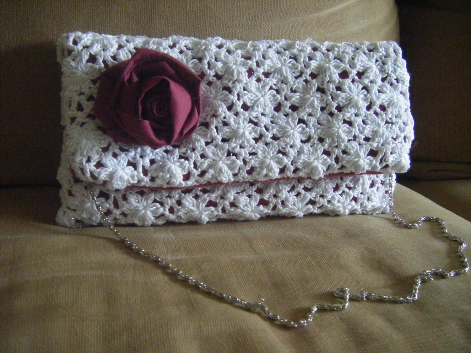 Crochet Clutch Lace Pattern : Clutch Lace Envelope Oversize Purse Crochet Pattern by NatalieSpot