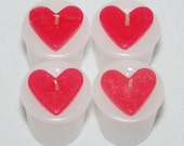 Set of 4 White and Pink Votive Heart Candle