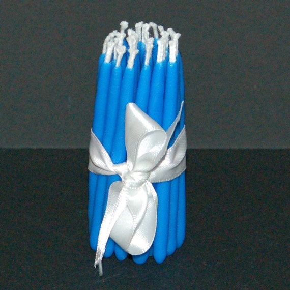 Set of 24 Blue Soy Birthday Candles