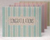 Congratulations Cards, Set of 4 - Eco Friendly Striped Card Set, Pastel Colors