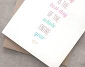 Birthday Card, Friend - Happy Birthday Card, Typography Card, Birthday Card for Mom - Best Day