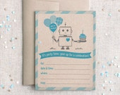 Robot Birthday Invitations, Set of 12 - Robot, Brown & Blue, Printed Fill In, Recycled - For Boys, Party, Shower