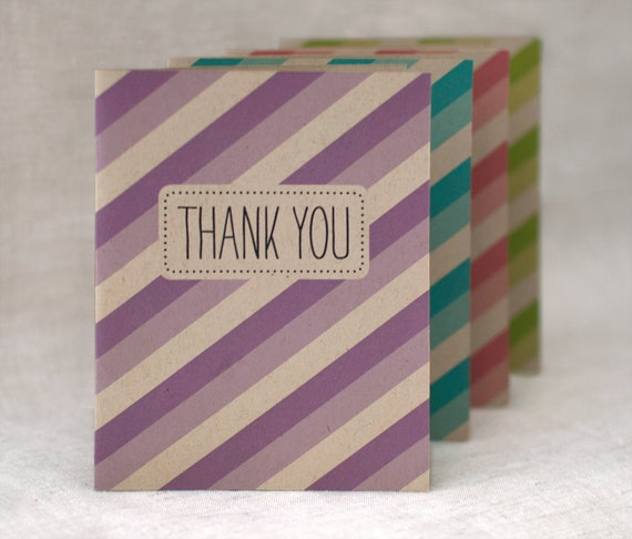 Thank You Cards, Set of 12 - Striped Thank You Cards, Wedding, Party