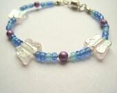 Girls Jewelry, Iridescent Butterflies Bracelet, Blue & Purple Beads, Magnetic clasp