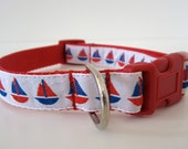 STOCK SALE 50% Off Ready To Ship Little Sailboats 3/4 Inch Red, White, and Blue Collar w/ Jacquard Ribbon