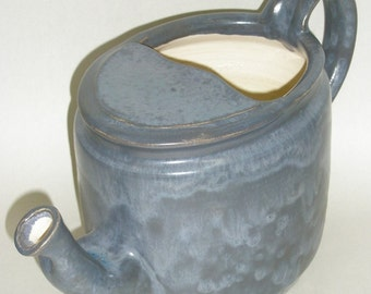 Watering Can Pitcher vase in Stone Washed Blue Glaze #IO 003