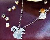 Sterling Squirrel and Acorn Necklace