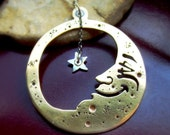 Brass Man In The Moon Necklace