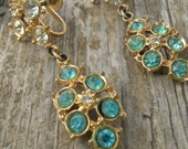 Vintage Earrings Dangles with Clear and Blue Stones in Gold Screw Backs