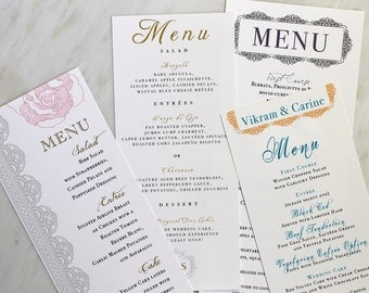 Beacon Lane Wedding Menu Cards - Purchase to Start the Ordering Process