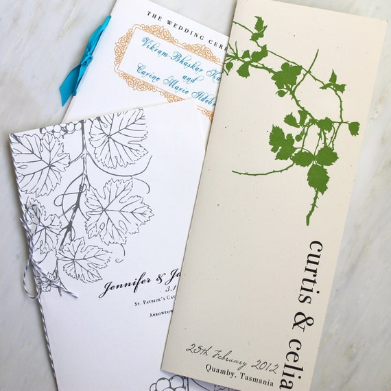 Wedding Ceremony Programs, Booklet, Fan, Flat with Ribbon or Twine - Purchase to Start the Ordering Process