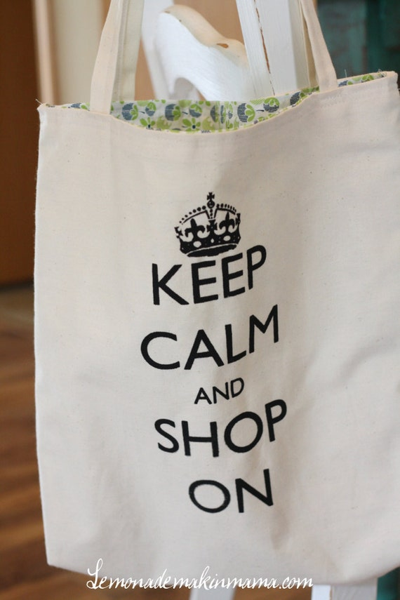 "Navy and lime green lined ""Keep Calm and Shop On"" market bag"