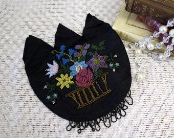 Antique Purse Vintage Purse Victorian Black Beaded Purse Flowers vase NOS near mint 13-5-ACS