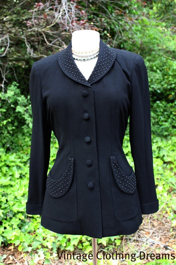 RESERVED 1940's Style BEADED Jet Black hourglass Jacket by Zelda with Iridescent Beads and Half Moon Pockets BR-80